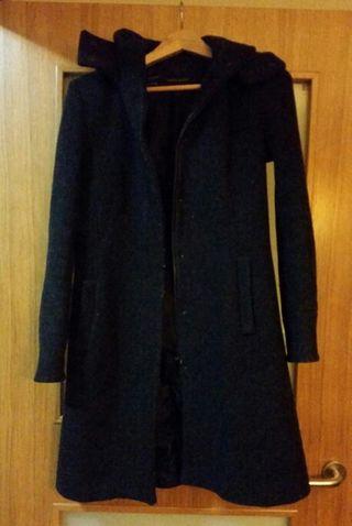 Abrigo paño gris oscuro.ZARA