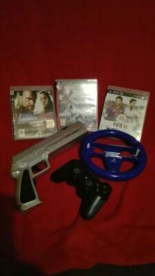 3juegos+1mando y de regalo volante/pistola wii