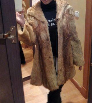 Abrigo de piel de lobo autentico