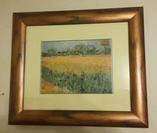 Cuadro con marco paisaje florido