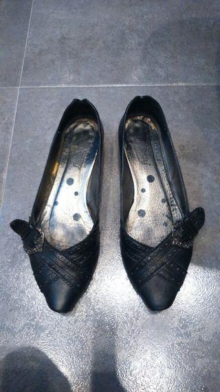 Zapato plano de piel