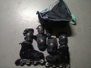 Patines linea con protecciones y bolsa.