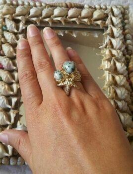 Precioso anillo piedra agua marina Bimba y Lola