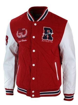 Chaqueta Béisbol Hombre Color Roja/Blanca, Tallas Disponibles: S,M,L,XL,XXL.