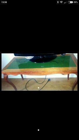 Mesa madera y marmol