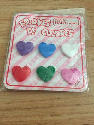 Botones colores corazones