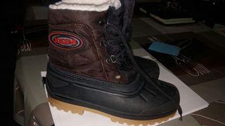 Botas nieve impermeables 33 - 34 marron y negra