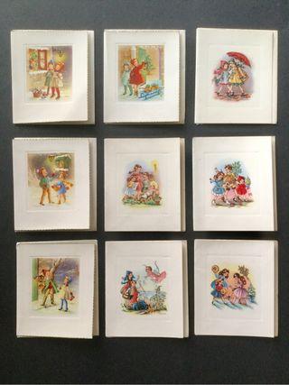 Lote 9 postales antiguas Navideñas, con sobre. Años 50