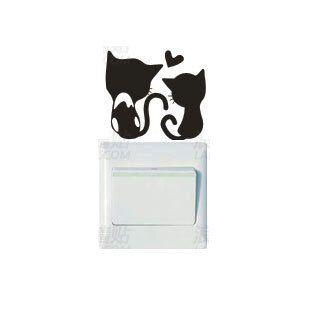 Adhesivo Deco. Gatitos Corazón. Pared, Interruptor