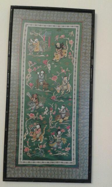 Dos cuadros.tapices de seda chinos