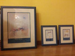 Conjunto de tres cuadros para dormitorio o salón