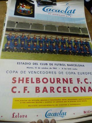 Cartel Shelbourne f.c C.F. Barcelona 1963