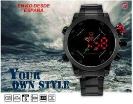Reloj Shark negro y rojo1 con pantalla dual