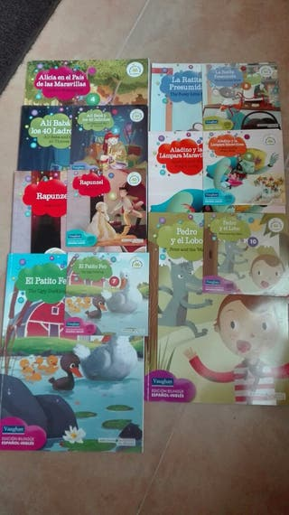 libros de cuentos populares, edición bilingüe y CD