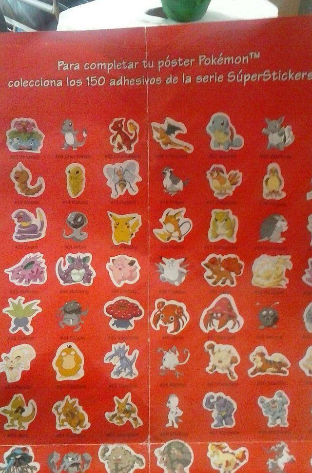 pokemon poster de 150 adhedisivos casi todos tienen su adhesivo