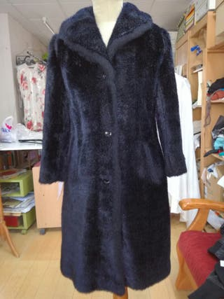 De 50 Mano Talla 42 Mujer Marino Segunda Pelo Abrigo Azul Por n1wqFfyY