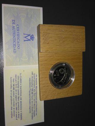 moneda 1 ECU de plata año 1989 con estuche