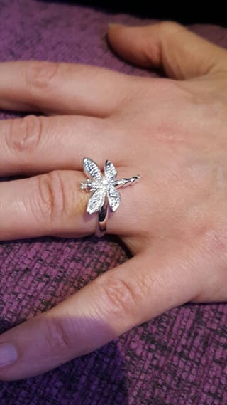 anillo libelula plata 925 talla 16