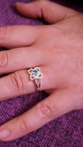 anillo gota de agua plata 925