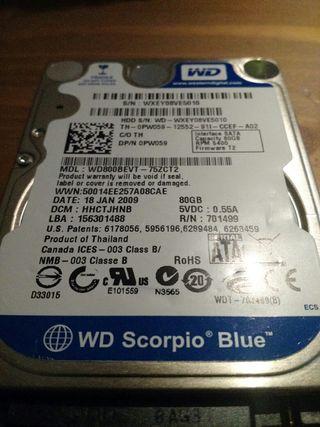 Disco duro SATA 2.5 80gb 5400 RPM Western Digital