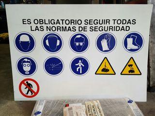 Cartel normas de seguridad. Prevención de riesgos.