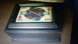 Caja cartas vintage de madera maciza