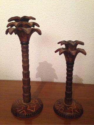Candelabros de hierro palmeras