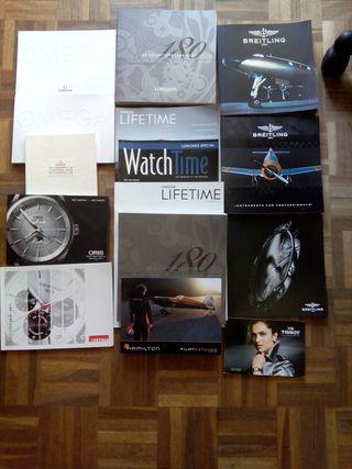 Folletos relojes. Breitling, Omega, Longines, Oris