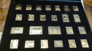 Colección sellos de plata bañados en oro