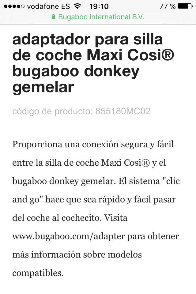 Adaptador Duo Maxi Cosi Bugaboo