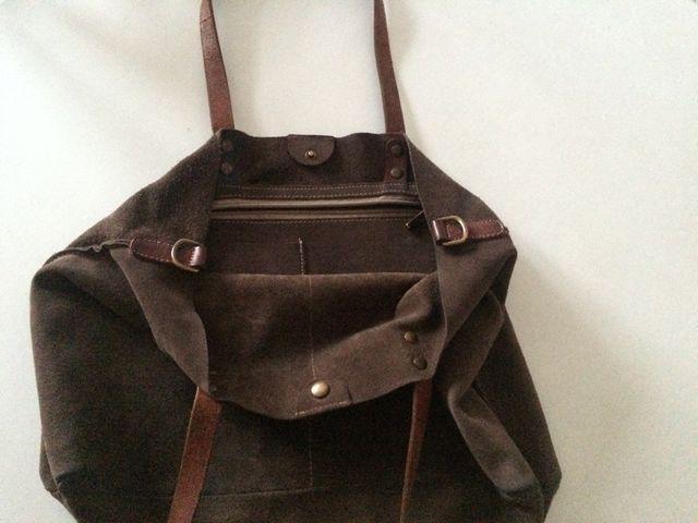 Bolso de Mano cuero, velur, leather, marrón