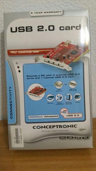 Tarjeta PCI ext 4 USB Concentronic nueva