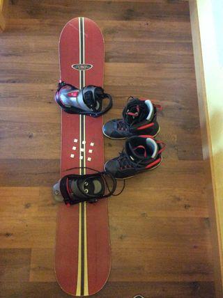Tabla, Funda, Fijaciones y Botas de Snowboard