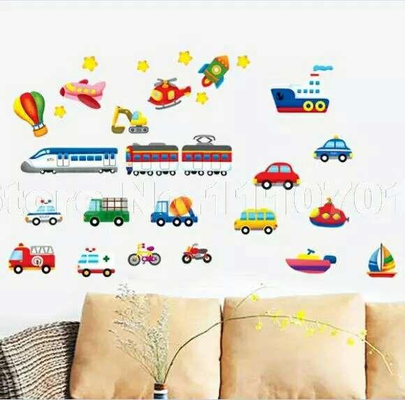 Vinilo decorativo infantil transporte