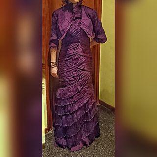 Vestido de Fiesta Madrina en color berenjena