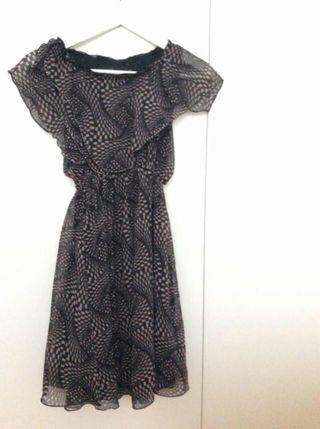 Vestido negro,marrón y pedrería Talla 26