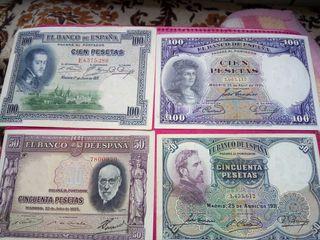 Lote de cuatro billetes antiguos españoles