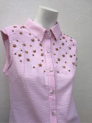 Blusa M cuadros rosa y blancos