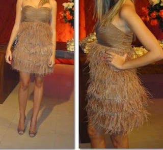 Vestido de plumas de Zara S