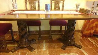 Mesa y sillas madera caoba maziza
