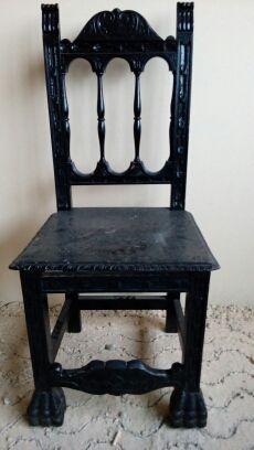 Bonita silla castellana antigua de madera de segunda mano por 40