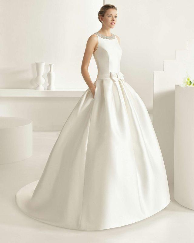 vestido de novia rosa clara de mikado de segunda mano por 850 € en