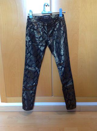 Pantalon Print Animal Negro Y Dorado