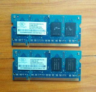 Memoria DDR2 portátil 1GB (2x512)