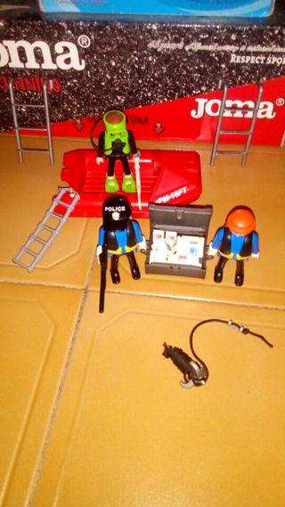 playmobil policias + lancha y acesorios