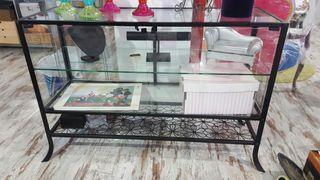 Mueble cristal y forja