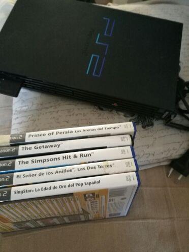 playstation 2 Ps2 con 5juegos ,memory card y cable