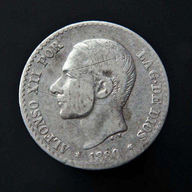 Moneda . 50 centimos 1880 MS M . Plata