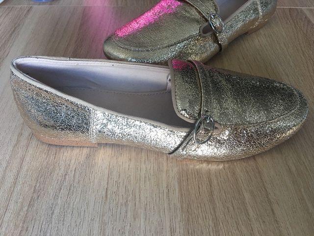 Gold Shiny Loafers 36EUR / 3UK