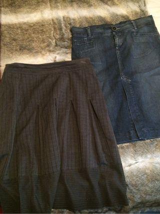 2 faldas Zara Tejana y tela gris